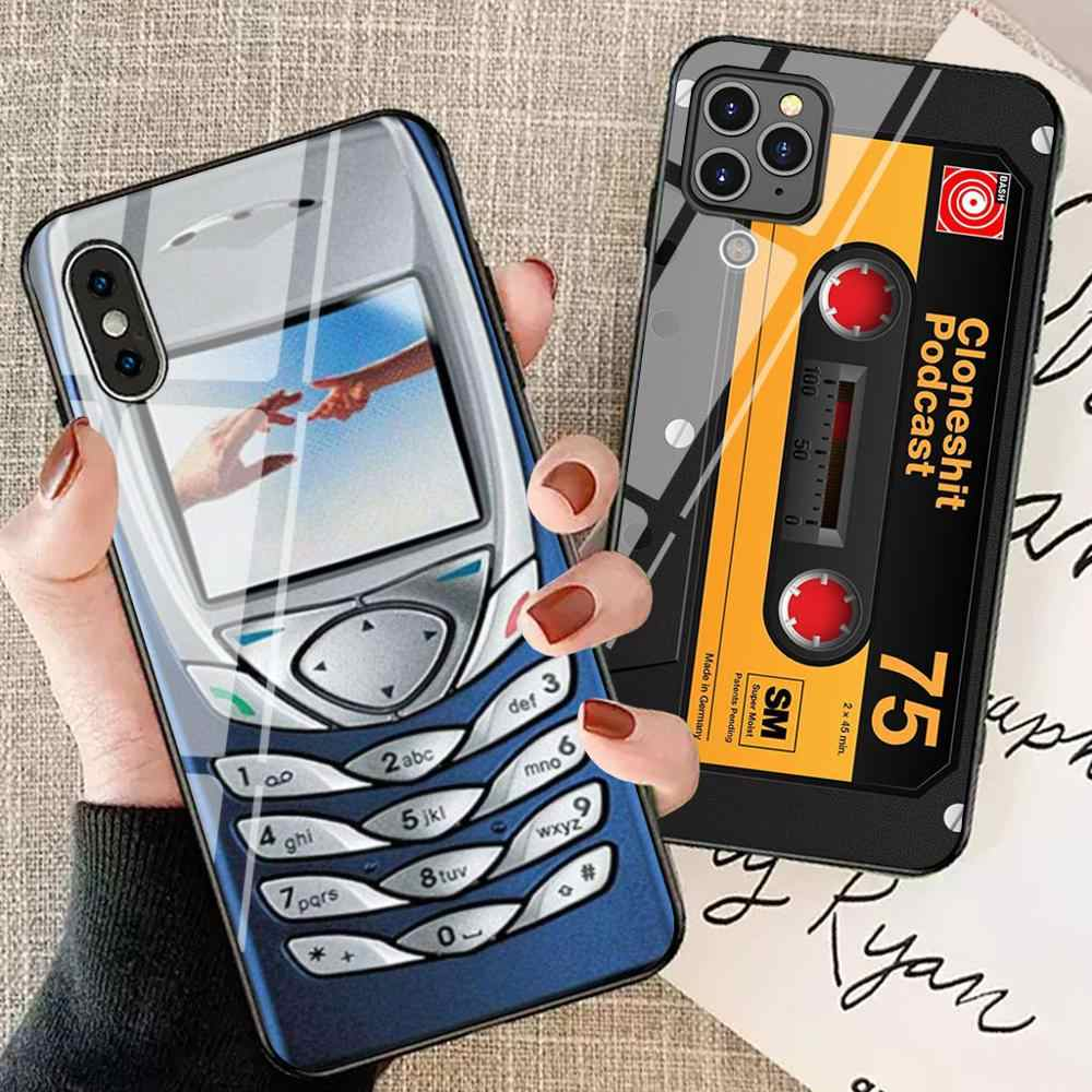 Funda de teléfono de vidrio Retro Para Apple iphone xr x xs max 8 plus 7 7plus 11 pro max 6 6s funda trasera clásica iphone 7 funda protectora