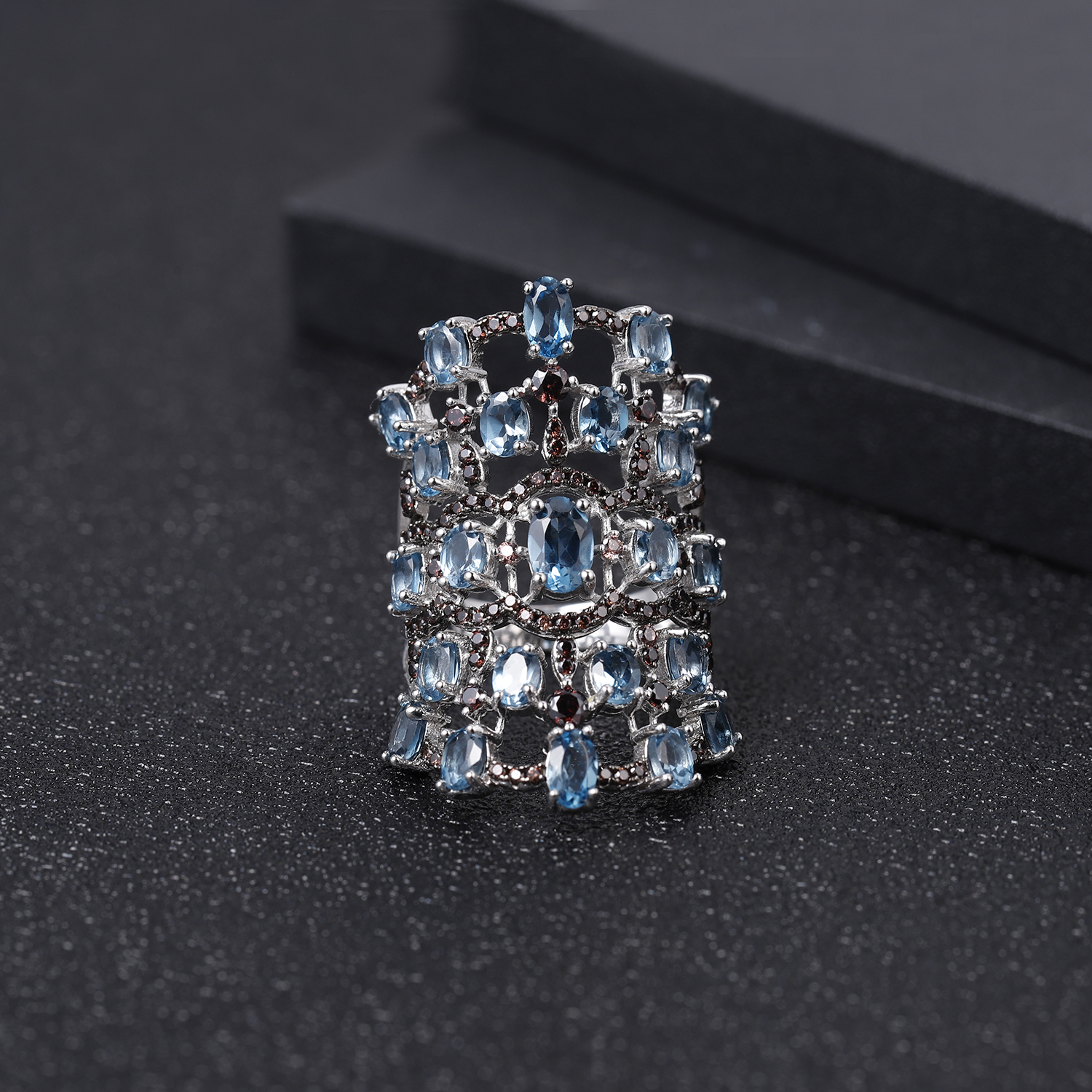 GEM'S BALLET Luxury 7.59Ct Natural London Blue Topaz Ring 925 Sterling Silver Vintage Gemstone Ring For Women Party Fine Jewelry