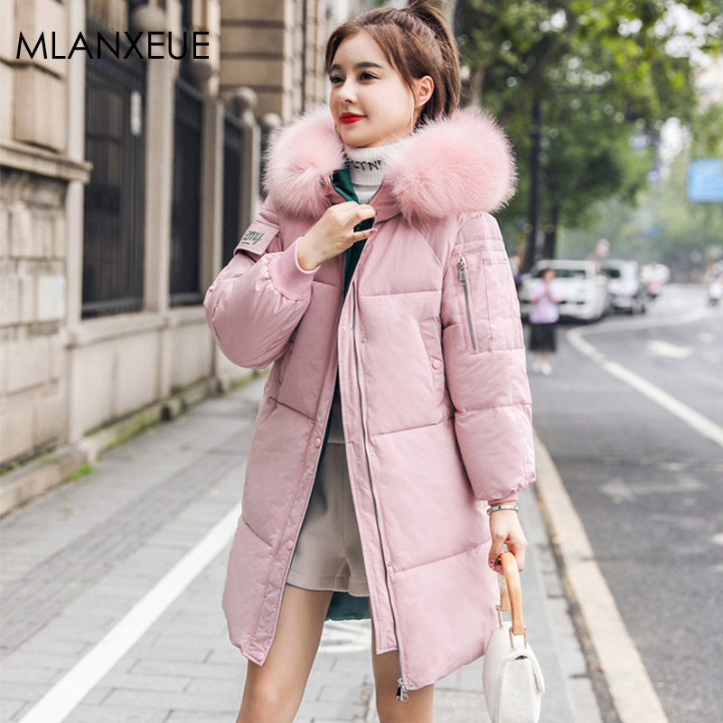 Women's Long Cotton Down Jacket Fur Hooded Solid Plus Size Thicken Warm Coat Female Windproof Parka Coats Korean Windbreakers