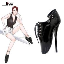 Jialuowei fetiche ballet bombas feminino 18cm 7 polegada ultra alta pico calcanhar preto laço up apontou toe sexy salto fino tornozelo sapatos