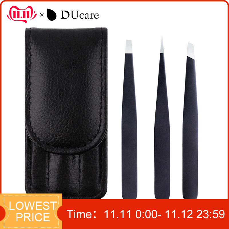 DUcare 3 PCS Eyebrow Tweezers Stainless Steel Hair Removal Makeup Tool Kit with Bag Point Tip/Slant Tip/Flat Tip pinzas pincet-in Eyebrow Tweezers from Beauty & Health
