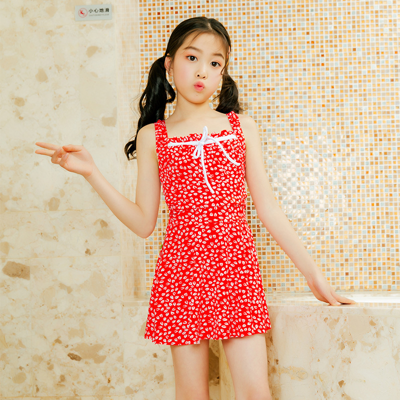 6-9-Year-Old GIRL'S Swimsuit Korean-style New Style Children Bathing Suit Qmilch One-piece Swimming Suit Petal Student Swimming