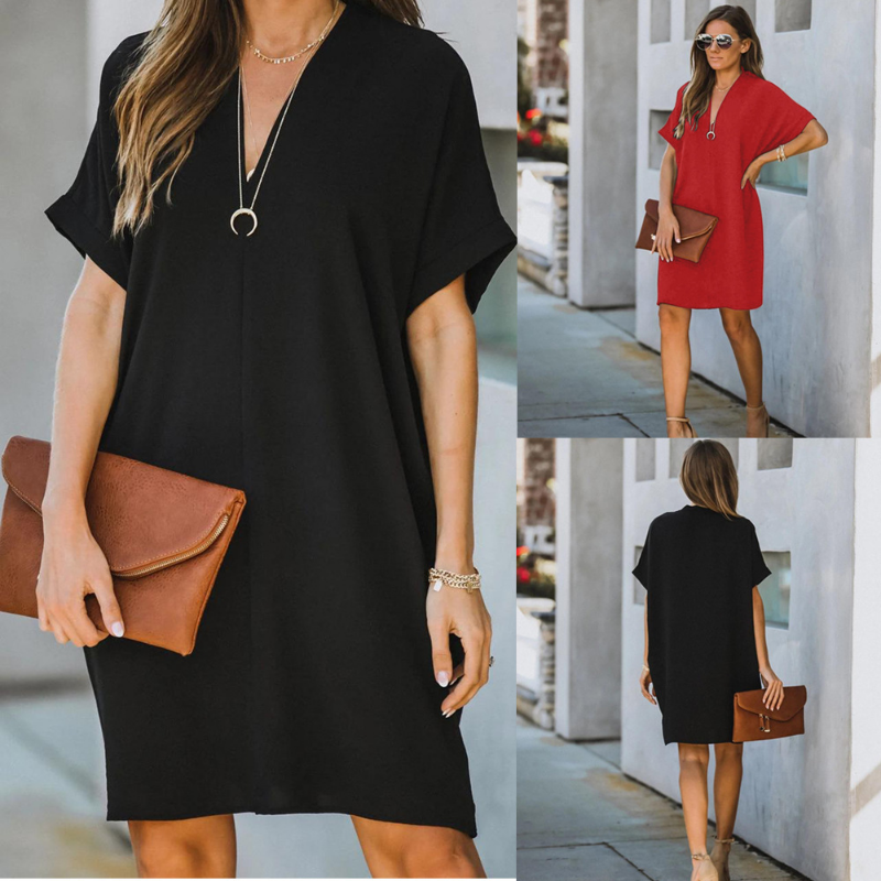 Summer New Solid Color Hedging Dress Ladies V-neck Temperament Sexy Stitching Loose Short-sleeved Fashion All-match Dress 2021
