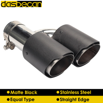 Dasbecan Matte 3K Carbon Fiber Exhaust Pipe for AK Rear Car Dual Exhaust Tips Stainless Steel End Tip Universal Auto Styling