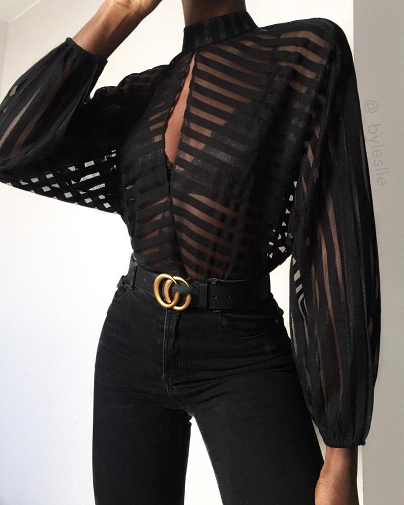 <font><b>2019</b></font> Autumn Fashion <font><b>Sexy</b></font> Shirt Women <font><b>Blouse</b></font> Stripes Keyhole Front <font><b>Mesh</b></font> Party Elegant Long Sleeve <font><b>Blouse</b></font> image