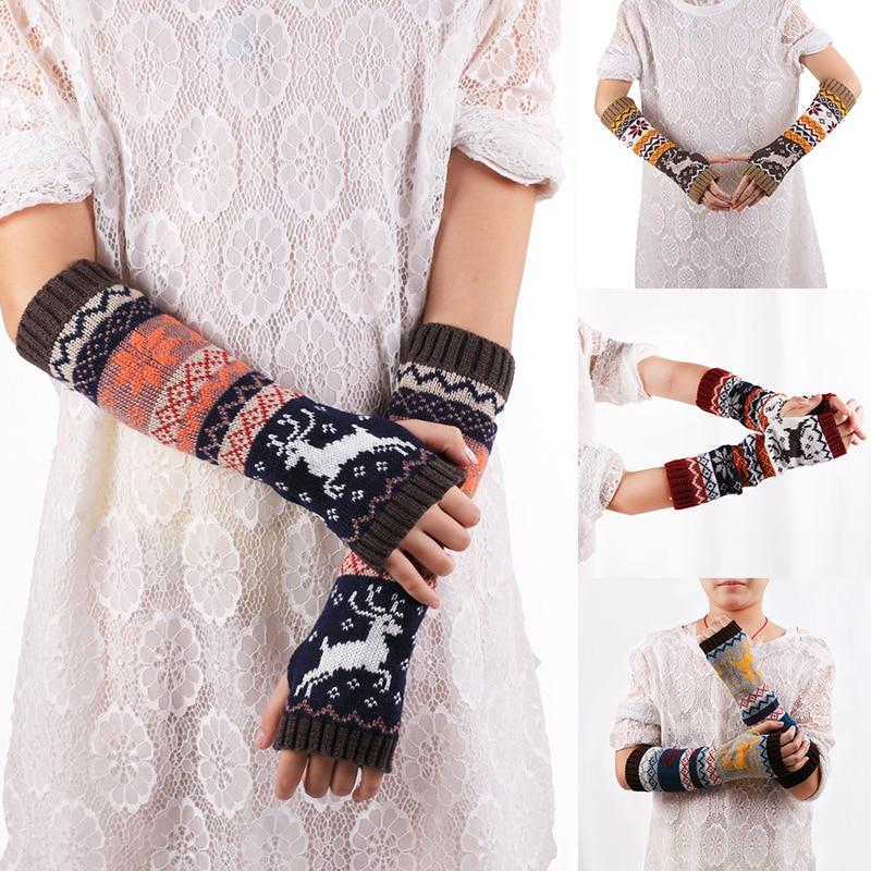 Winter Women Wool Knitted Arm Fingerless Gloves Fashion Christmas Girls Cute Elk Knitted Mitten Long Gloves Accessories