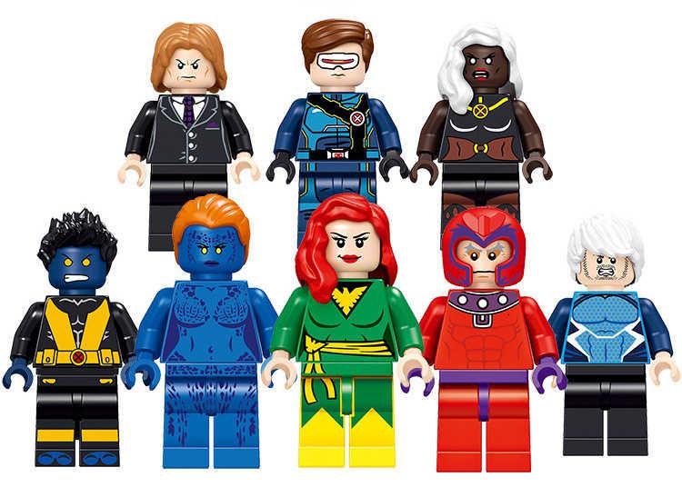 8 قطعة Marvel X-men مغناطيسي أستاذ X Mystique Quicksilver فينيكس ألعاب مكعبات البناء للأطفال