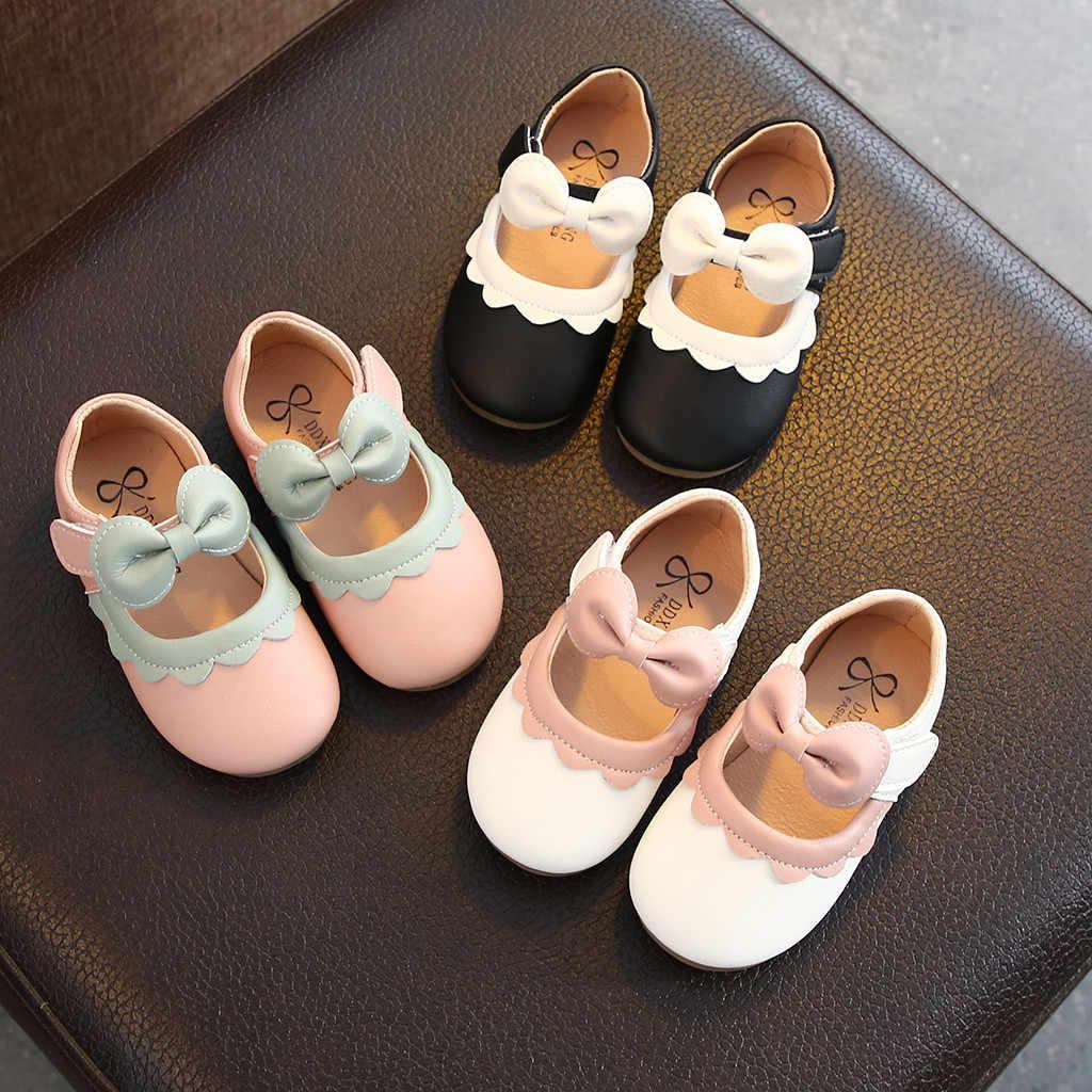 Nuevo PRIMAVERA/otoño niños zapatos de cuero negro niñas princesa Rosa rojo zapatos planos fiesta bebé Niño Zapatos niños zapatos EE. UU.
