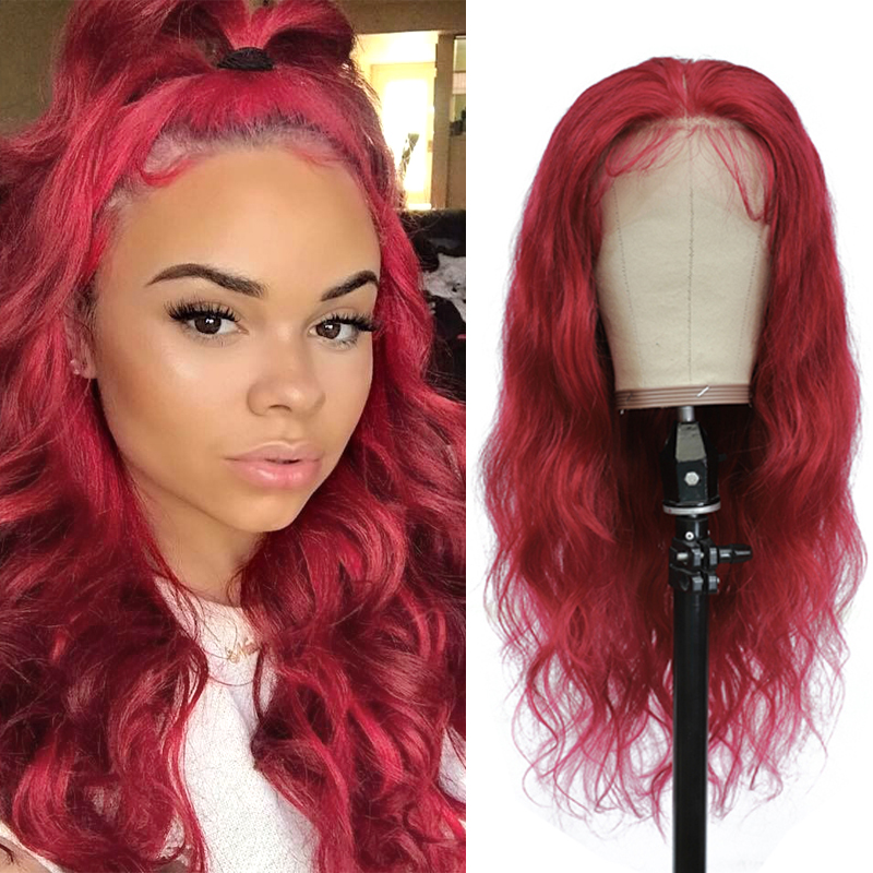 Human-Hair-Wigs Lace Wigs Body-Wave Lace-Front Pre-Plucked 99j/burgundy Brazilian 13x4