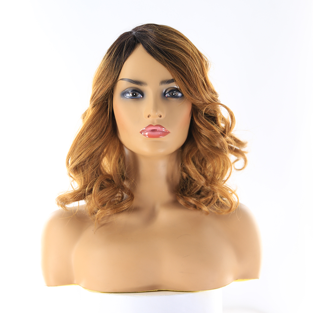 SOKU Synthetic Hair Wigs For Black Women 14Inch Short Wavy Wigs With Bang Ombre Brown Side Part Heat Resistant Wigs 180% Density