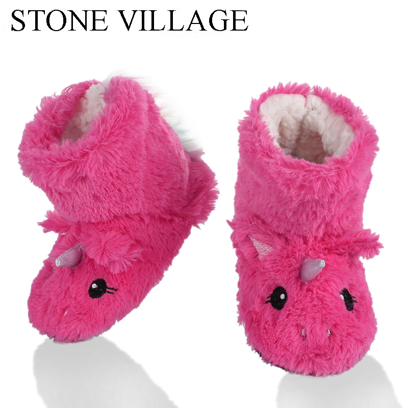STONE VILLAGE Cute Animal Print Girls Slippers Soft Warm Plush Kids Slippers Winter Boot Socks 2-7Year Old Boys Slippers