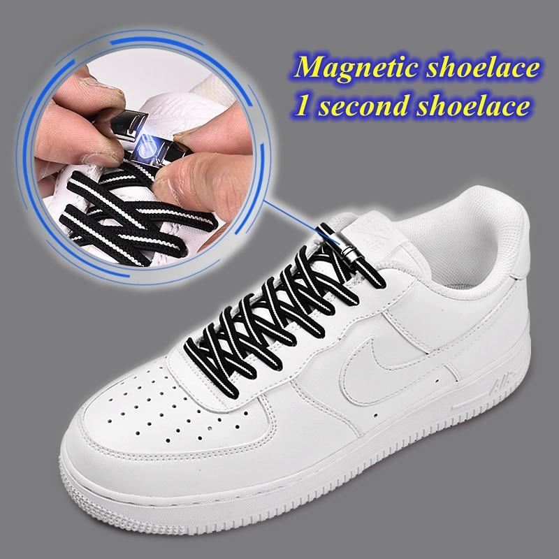 Flat Magnetic Shoelaces No Tie Shoe Laces Elastic Outdoor Unisex Leisure Sneakers Lazy Laces Safety Quick Lock Black Shoe Lace