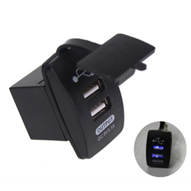 Chargeur de voiture universel étanche 3.1A | Port USB double sortie de chargeur pour moto voiture 12-24V 3100MA