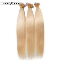 VR Star Quality Brazilian Hair Weave Blonde 613 Straight Weft 100% Platinum Human Hair Extension