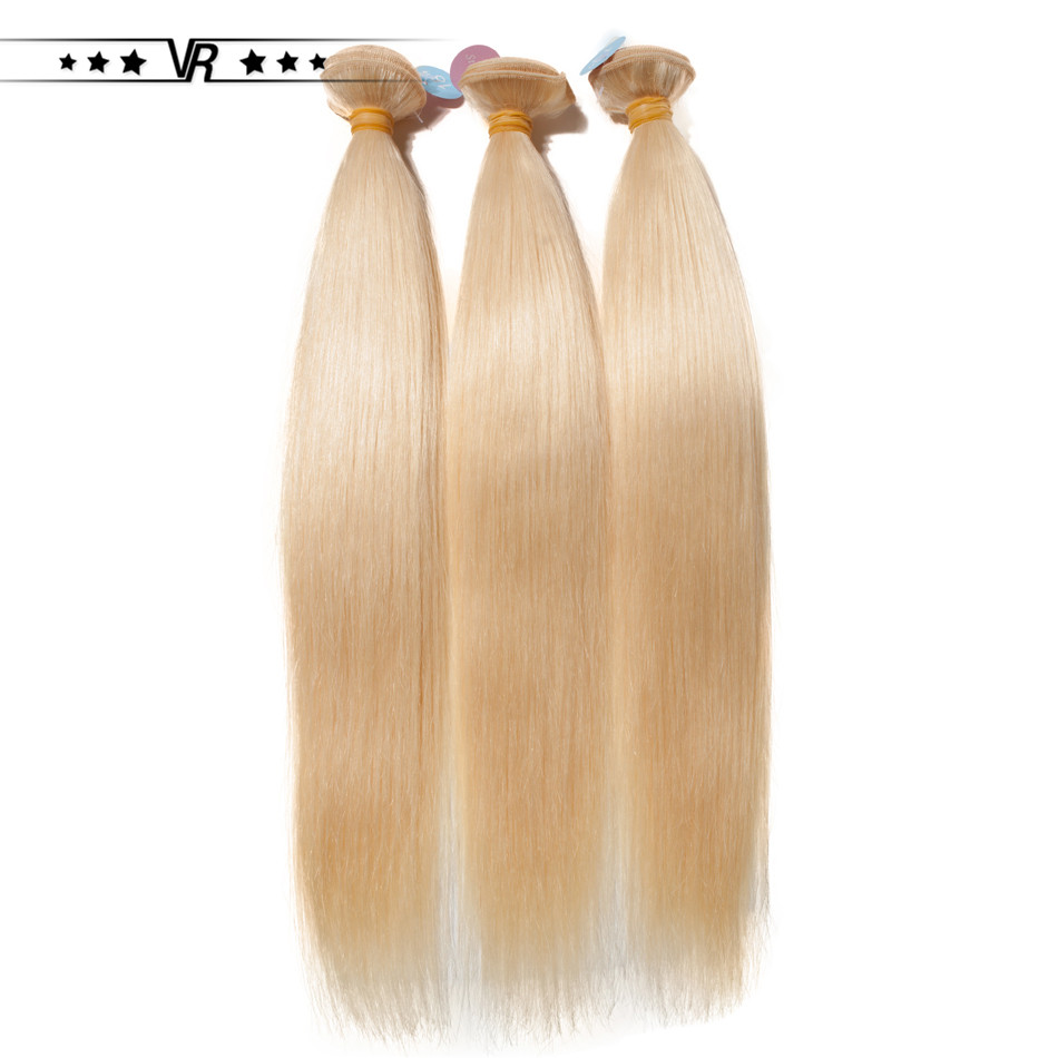 VR Star Quality Brazilian Hair Weave Blonde 613 Straight Weft 100% Platinum Human Hair Extension image