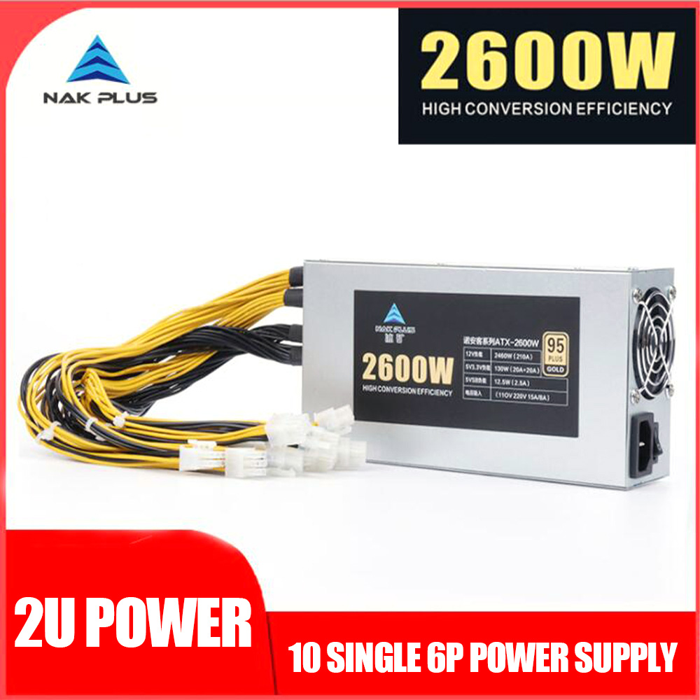 3200W ETH Mining Machine Power Supply 10 x 6pin 95% Efficiency 2U Single PC Power Supply Support Multi GPU For Bitcoin Mining