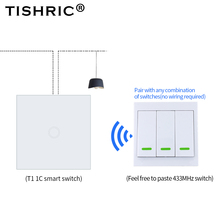 TISHRIC RF Remote Controller 433Mhz Transmitter Wall Panel Sticky Smart/Google Home work with SONOFF RF/T1/T2/Bridge/4CH PRO r2