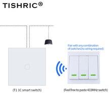 TISHRIC RF Remote Điều Khiển Từ Xa 433Mhz Bộ Phát Tường Bảng Dính Thông Minh/Google Nhà Làm Việc Với SONOFF RF/T1/T2/Cầu/4CH PRO R2