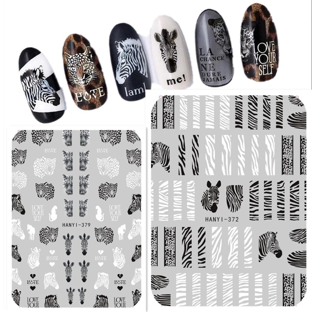 Newest HANYI 372 378 379 zebra-stripe design 3D nail art sticker decal stamping back gule DIY nail decoration tips