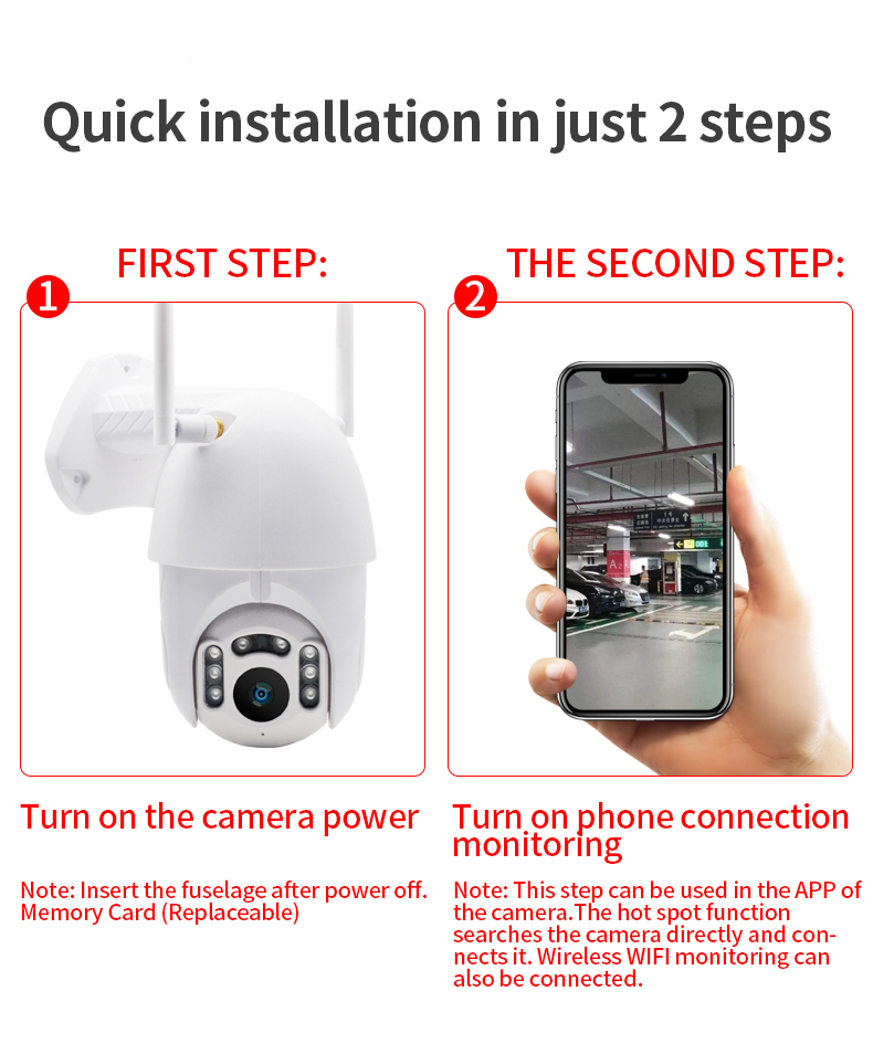 H001007dd8c294767af3b1bb303ad0adcw Q1 Outdoor PTZ Wireless IP Camera Move Detection Infrared Night Vision Waterproof Surveillance RJ45/Wifi Dome CCTV Camera