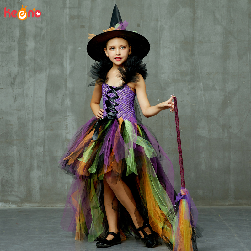 Girls Halloween Witch Tutu Dress Rainbow Trailing Tulle Kids Carnival Cosplay Party Dress Children Fancy Ball Gown Dress Costume 1