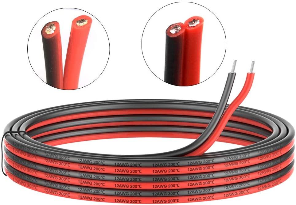 2pin extensão 12awg silicone fio elétrico preto e vermelho 2 condutor linha paralela macio comprimento flexível para você escolher