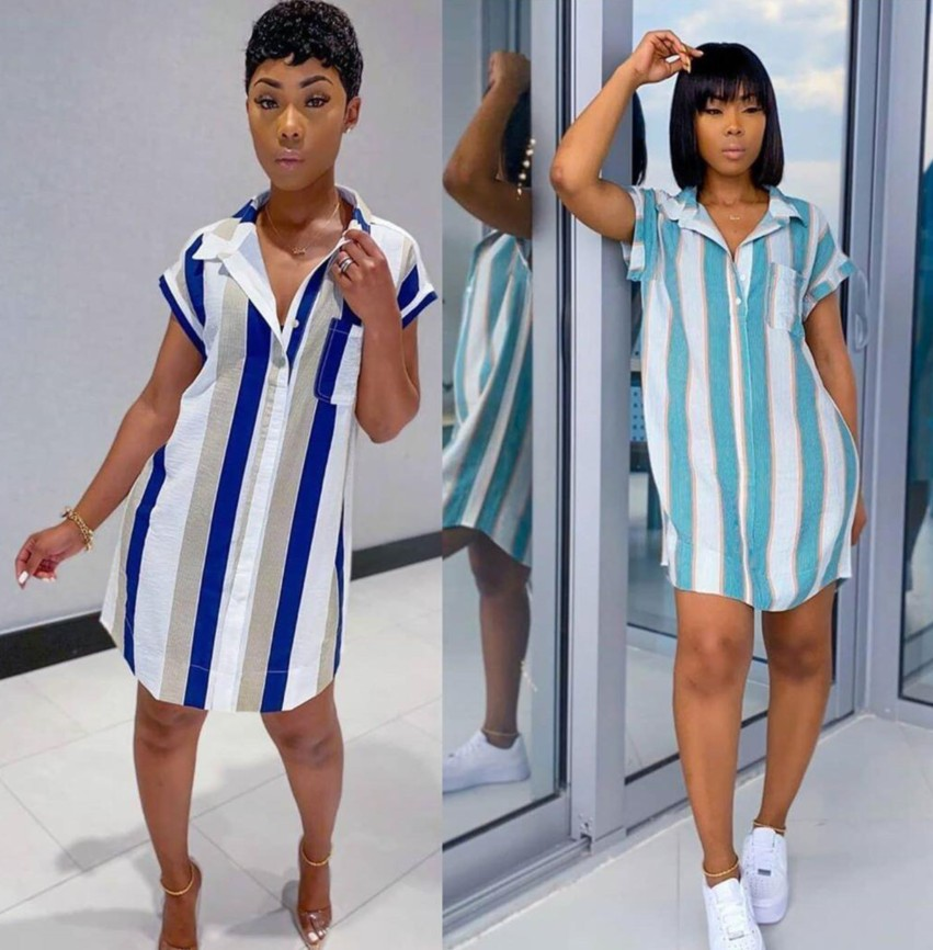 Summer Striped Shirt Dress Women Fashion Casual Lapel Short Sleeve Pocket Irregular Striped Short Dress Women