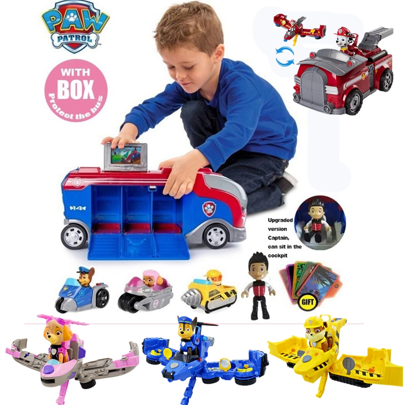 New Paw Patrol Bus With Music Dog Car Mission Cruiser Big Truck Toy Dogs Rescue Team Kids Action Figures Toy Christmas Gifts