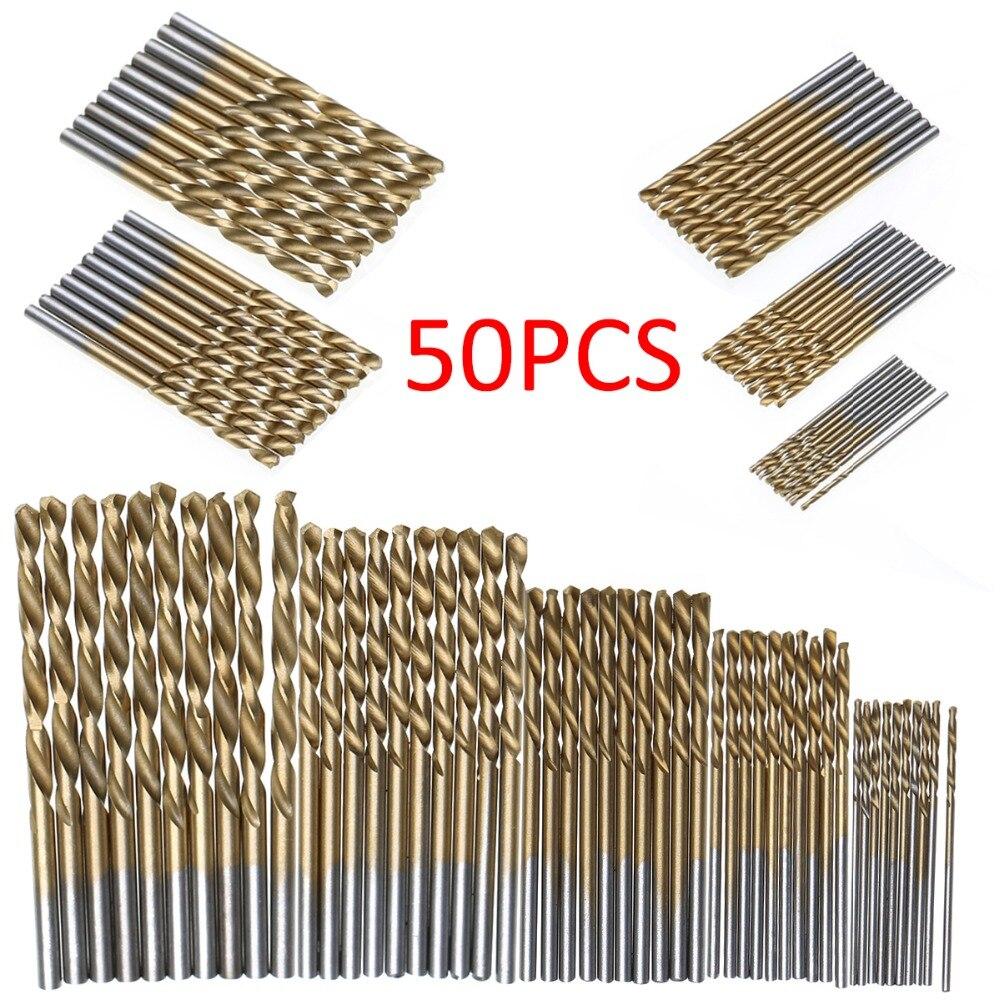 50Pcs HSS Titan Beschichtete Bohrer Bits Hoher Geschwindigkeit Stahl Bohrer Set Hohe Qualität Power Bohren Werkzeuge für Holz 1/1. 5/2/2. 5/3mm