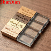 SHANDIAN (über 1PCS freies LOGO) holz mit kristall USB flash drive kreative usb-stick 8GB 16GB 32GB 64GB memory stick