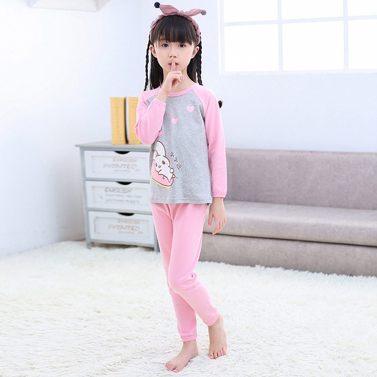 Spring And Autumn New Style Children Pure Cotton Underwear Suit Men And Women Big Boy Tracksuit Cartoon Pajamas HEATTECH