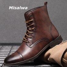 Misalwa высокие мужские мотоциклетные ботинки из искусственной кожи на шнуровке военные мужские ботинки с острым носком британские зимние/вес...