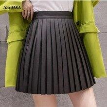 Short Skirt Black School High-Waist Korean Womens Fashion Pu-Streetwear Slim Summer Pleated