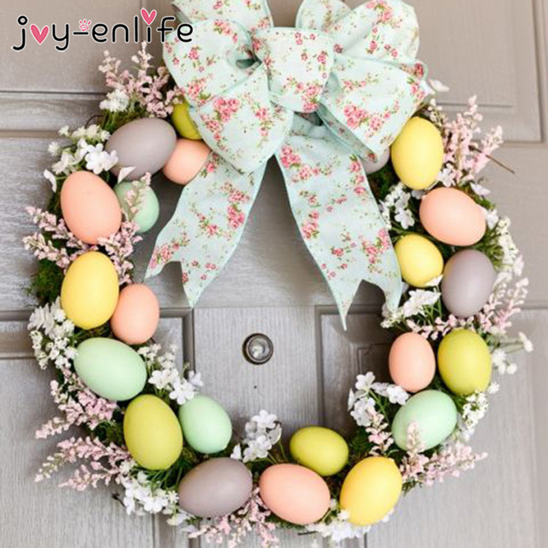 Happy Easter Decoration Ornaments Rattan Wreath Garland