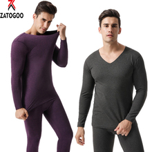 Men's Thermal Comfy Pajamas V Neck Thermal Microfiber Soft Fleece Long Johns Top & Bottom Set Long Johns Men Set