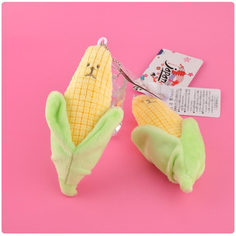 1pcs Cute Cartoon Vegetable Corn Plush Keychain Pendant Creative Stuffed Animals Bag Xmas Key Ring Holder Soft Toys Crafts 14CM