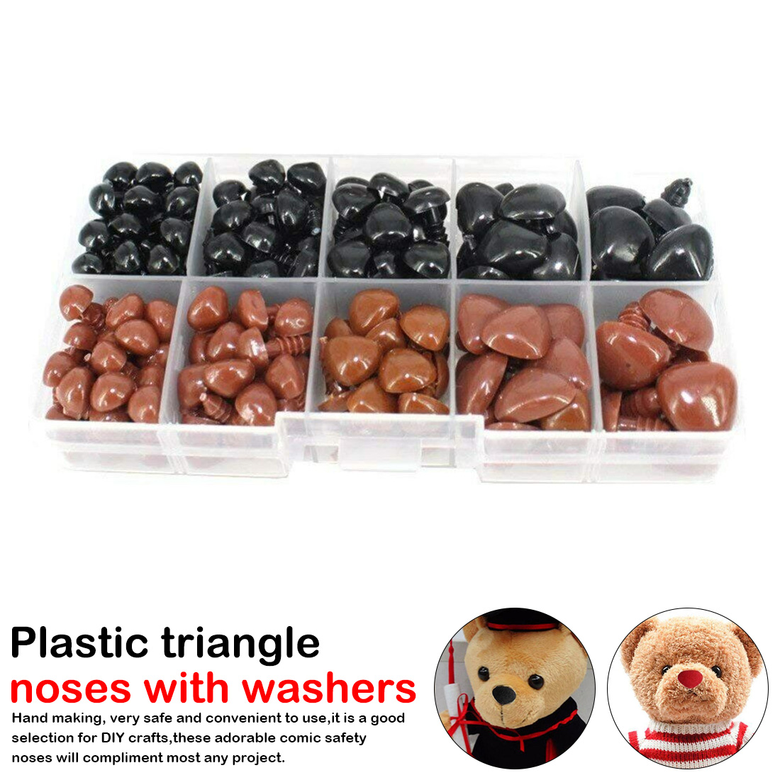 130pcs/box Mini Black and Brown Plastic Safety Noses Triangle For Stuffed Animals Toys Amigurumis Dolls Accessories