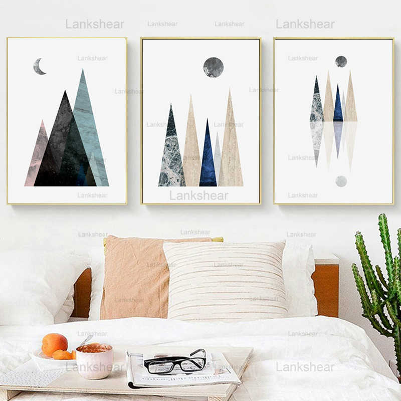 Trendy Aesthetic Abstract Scandinavian Style Wall Art of Mountains at a lake with the moon in brown Nordic Wall Art of Geometric Mountains