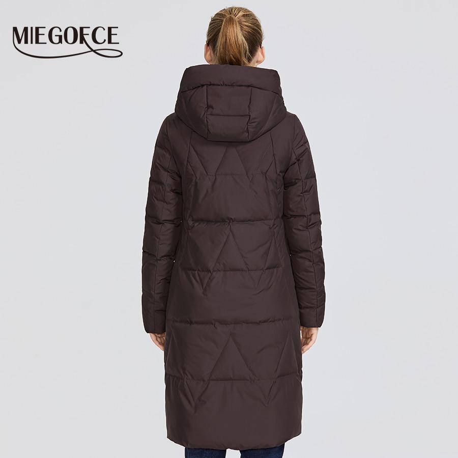 Miegofce 2019 신형 겨울 여성용 자켓 중형 웜 코트 (후드 포함) 유럽 스타일 야외에서 따뜻한 파카 제공-에서파카부터 여성 의류 의  그룹 3