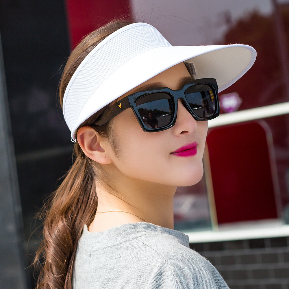 2020 Simple Summer Straw Sun Hat Women  Sun Visor Hat With Big Heads Wide Brim UV Protection Female Cap Wholesale