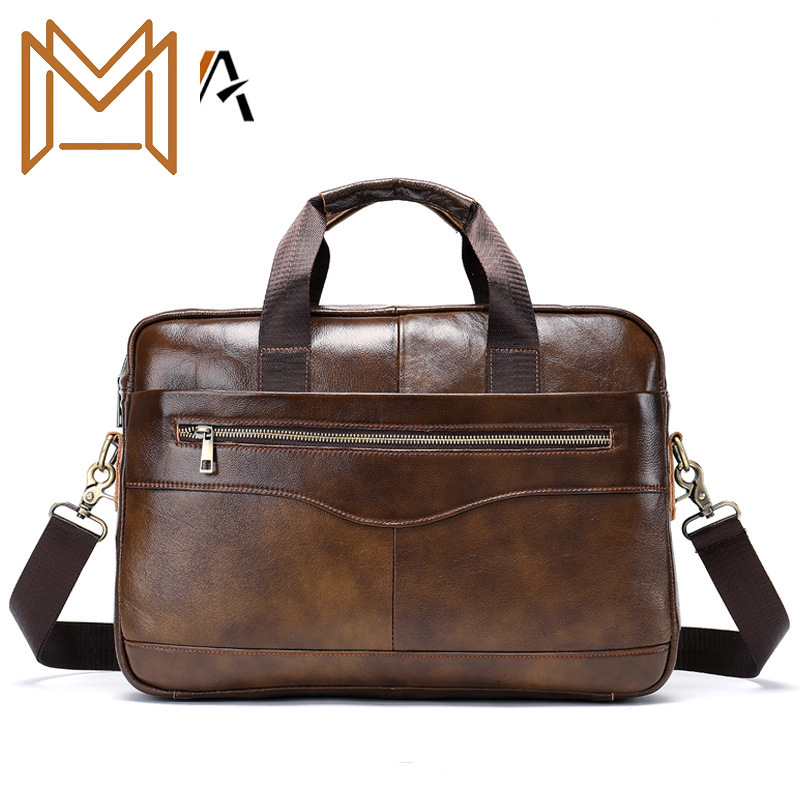 Genuine Leather Handbag Briefcase Business Affairs Leisure Time Male Package Head Layer Cowhide Computer