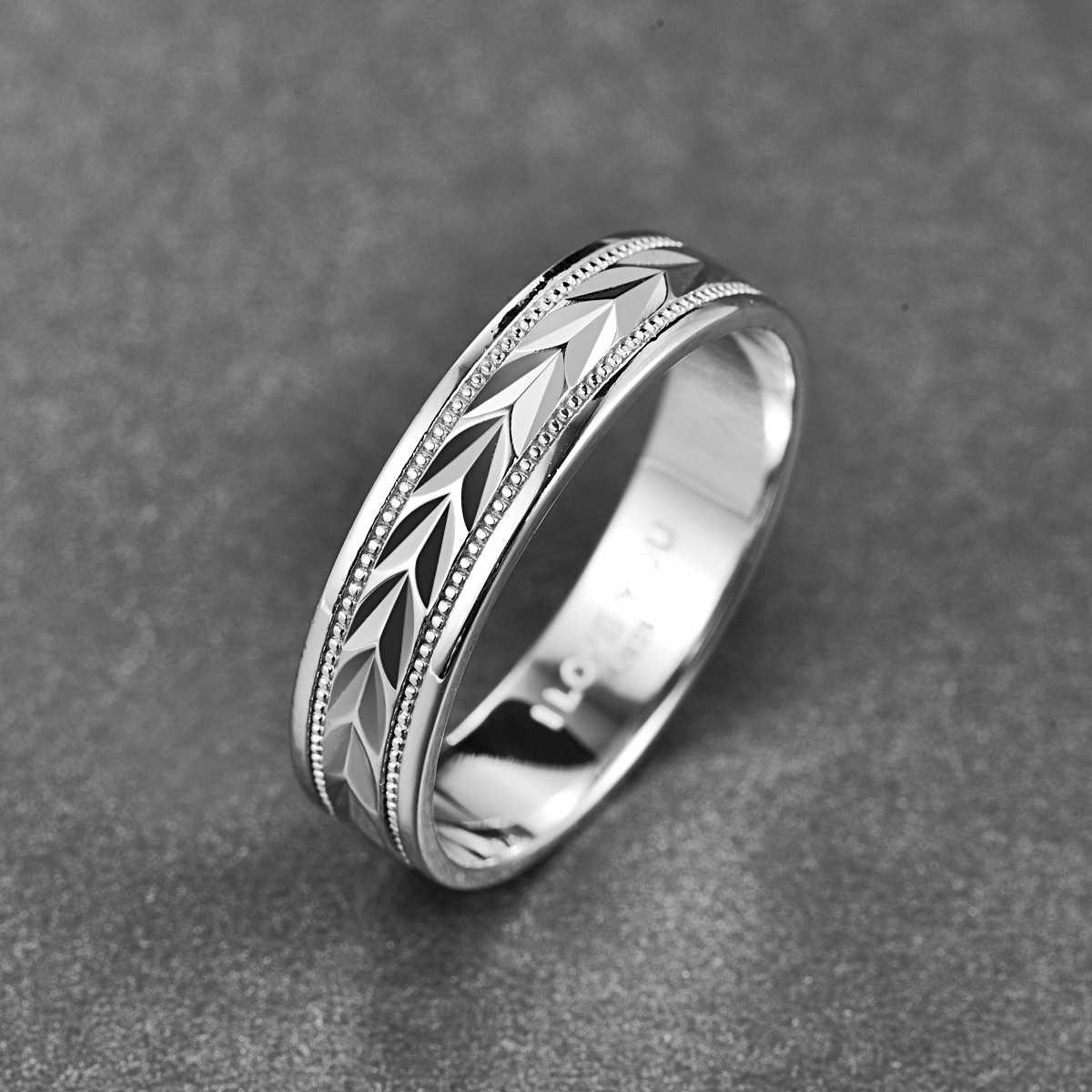 فضة الأخدود أوراق خواتم للنساء الرجال الفضة اللون نقش أحبك حلقة الزركون عصابة المجوهرات هدية