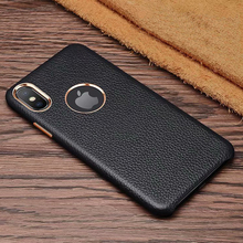 Real leather lychee texture phone back cover case for iPhone 6s 7 8 Plus XR Xs Max ckhb lzw cowhide metal button protective case