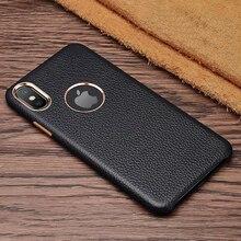 リアルレザーライチテクスチャ電話バックカバーケース iphone 6s 7 8 プラス xr xs 最大 ckhb  lzw 牛革金属ボタン保護ケース