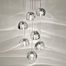 цена Luxury Clear Crystal Staircase Light modern Lustre De Cristal LED Round Villa large Chandelier Lighting suspension Fixtures онлайн в 2017 году