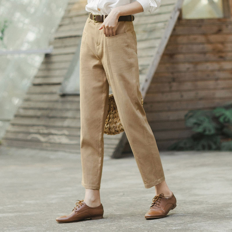 Image 3 - INMAN 2020 Spring New Arrival Literary Retro High Wasit Front Pocket Loose Slimming Ankle length TrousersPants & Capris   -