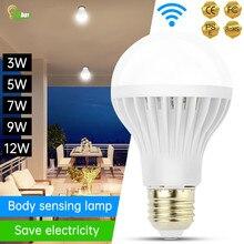 Led Bulb 3W 5W 7W 9W 12W PIR Motion Sensor Lamp AC 220V Auto Smart Led PIR Infrared Body Sound Light E27 Motion Sensor Light