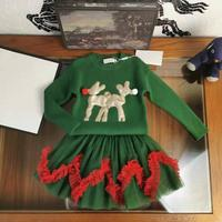 Christmas Party Kids Skirts For Girls Long Sleeve Deer Print Sweater New Year Costume Princess Clothes Set