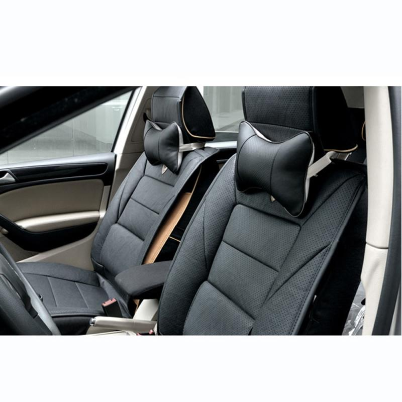 New 1pcs  Car Neck Pillows PVC Leather Breathable Mesh Auto Car Neck Rest Headrest Cushion Pillow Car Interior Accessories