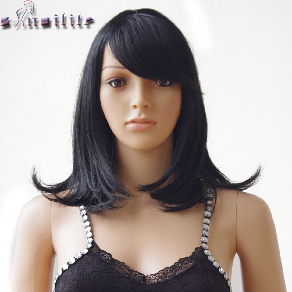 S-noilite 14inch Natural Hair Wig Straight Hair Wig Dark Brown Synthetic Wig With Bangs Women Daily Party Hair Wigs